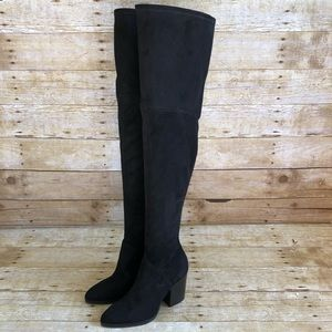 Marc Fisher Black Suede Arrine Over the Knee Boots